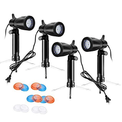 Neewer Kit Iluminaci/ón LED Sobremesa Estudio Fotograf/ía Paquete de 2 con Base de Tr/ípode Filtros Gel de Color Naranja//Azul Transparente para Fotograf/ía Producto Juguetes Joyas