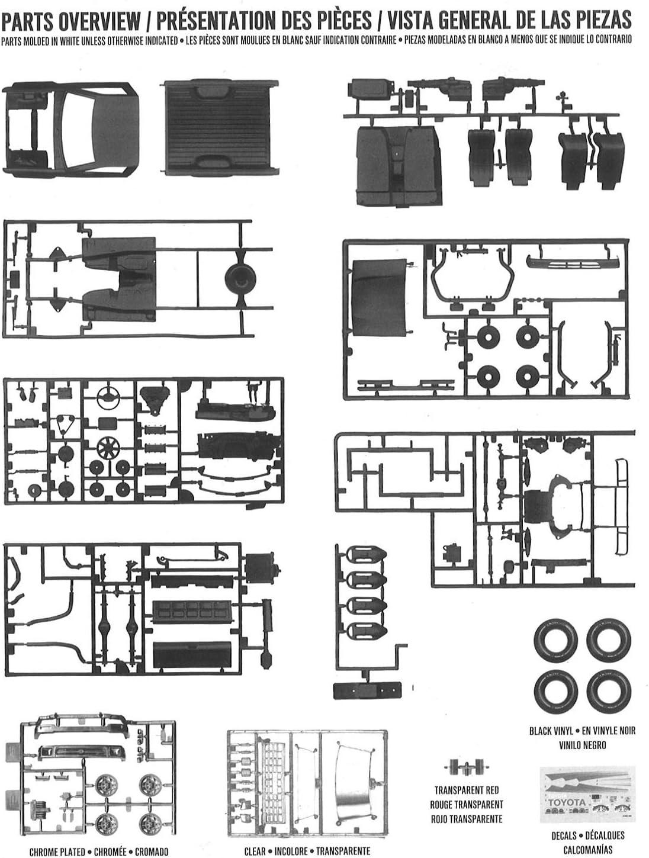 AMT AMT1082//12 1//20 Toyota 4x4 Pick-up Modellbausatz verschieden