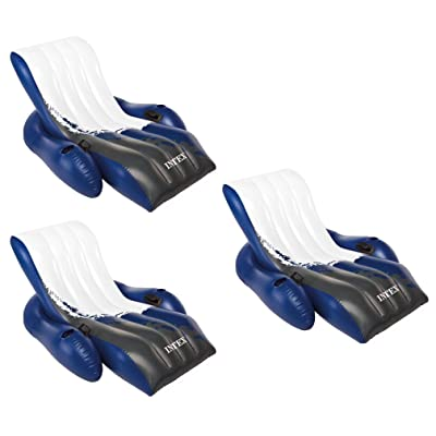 Intex Inflatable Floating Comfortable Recliner Lounges with Cup Holders (3 Pack): Toys & Games