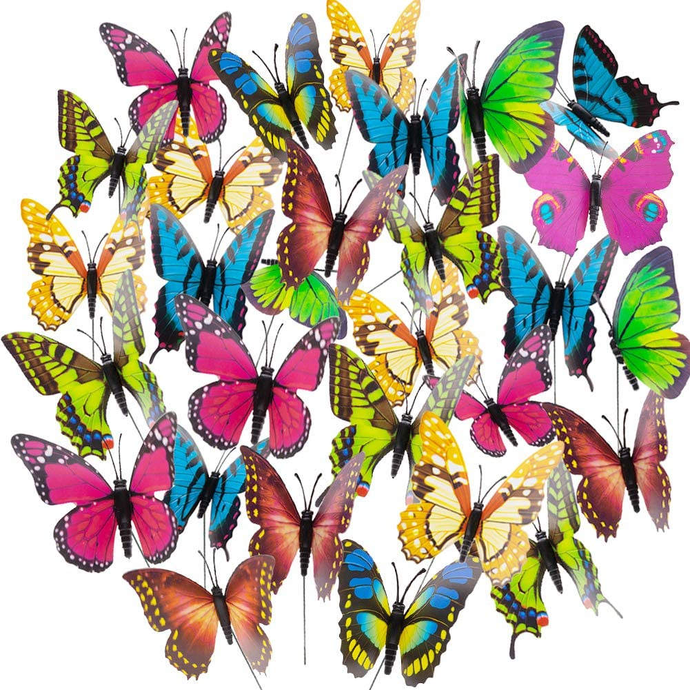 VGOODALL Butterfly Stakes, 50pcs 11.5inch Garden Butterfly Ornaments, Waterproof Butterfly Decorations for Indoor/Outdoor Yard, Patio Plant Pot, Flower Bed, Home Decoration: Garden & Outdoor