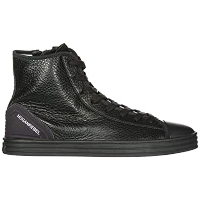 e66aa1133937 HOGAN REBEL Men s Shoes high top Leather Trainers Sneakers r141 Black US  Size 9.5 HXM1410V440DZX0XCG