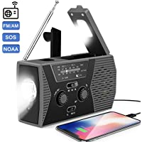 Lukasa Emergency Solar Hand Crank Portable Radio with LED Flashlight, 2000mAh Power Bank USB Charger, Reading Lamp,SOS Alarm