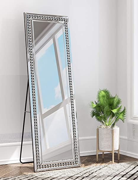Amazon Com Muausu Full Length Floor Mirror Crystal Surround Mirrored Framed 18 X 58 Full Body Mirror With Standing Hanging Home Kitchen