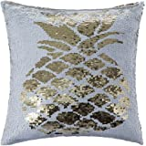 Homecy Reversible Sequins Pillow Cover Pineapple Patten Mermaid Pillowcases Throw Cushion 16x16 Inch