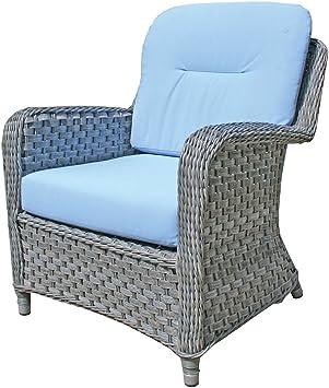 Oxford Fauteuil Lounge Coussin Bleu Ciel Avec Coussin Pour