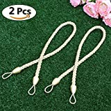 NICETOWN Hand Knitting Ropes Tie Backs for Curtains - Pair of Elegant Thick Tiebacks for Living Room Draperies