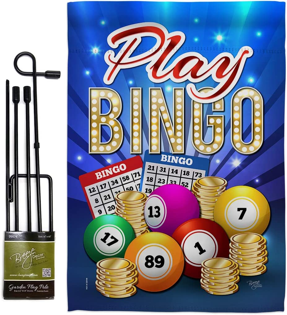 Breeze Decor Games Play Bingo Garden Flag Set with Stand Interests Bunco Night Dice Poker Hobbies Leisure Activity Small Decorative Gift Yard House Banner Double-Sided Made in USA 13 X 18.5