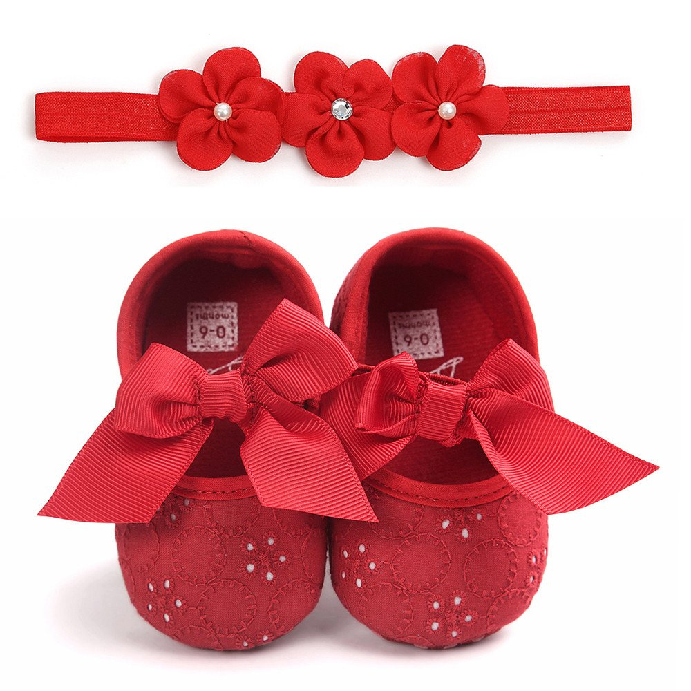 Seaintheson Baby Girls Shoes Baby Girls Princess Slippers Bowknot Soft Sole Cloth Shoes First Walkers Sneaker