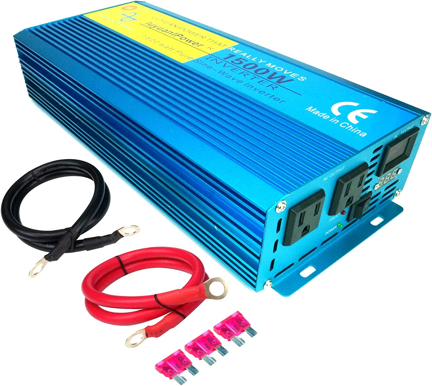 1500W Continuous// 3000W Peak Pure Sine Wave Inverter DC 12V to AC 120V Car Power Inverter with Dual AC Outlets