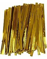 SODIAL(R) Lot 100 dore attache fil fer twist tie sachet bonbons biscuits sucettes