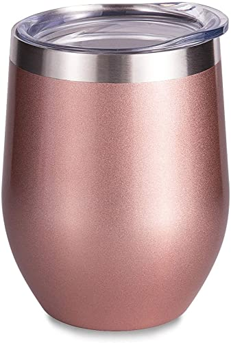 SUNWILL Insulated Wine Tumbler with Lid Rose Gold, Double Wall Stainless Steel Stemless Insulated Wine Glass 12oz
