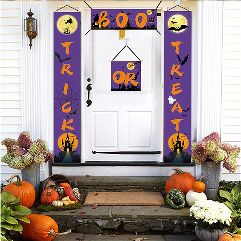 ZHIGAY Halloween Decorations Outdoor Indoor - Trick or Treat & Boo Banner, Reusable Halloween Sign Decor Front Door Porch Yard Party