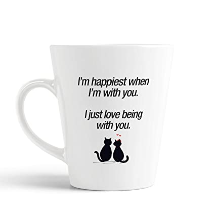 Buy iKraft Love Quotes Conical Coffee Mug- I\'m Happiest When ...