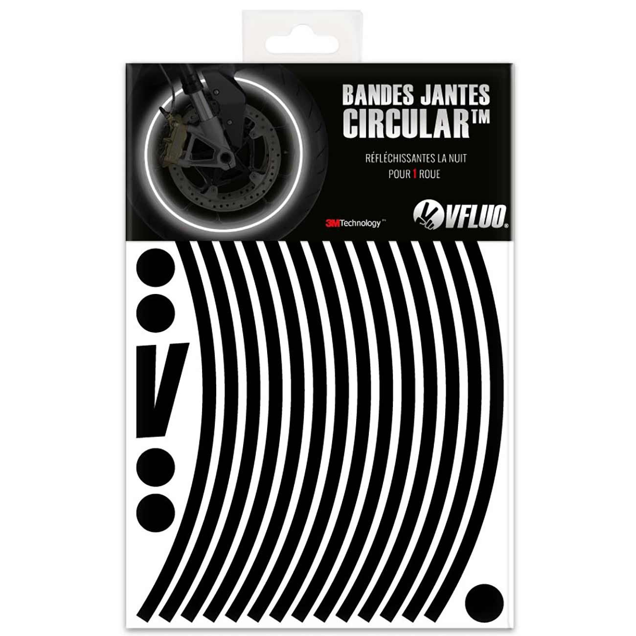 VFLUO CIRCULAR, Motorcycle retro reflective wheel stripes kit (1 wheel), 3M Technology, 7 mm width, Black