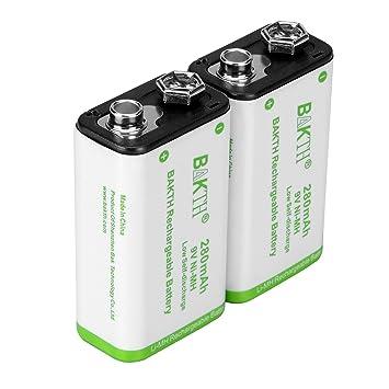 BAKTH Pilas Recargables NiMH 9V 280mAh Rendimiento más Alto Ni-MH de Batería (2 Piezas): Amazon.es: Electrónica