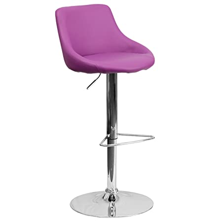 Flash Furniture Contemporary Purple Vinyl Bucket Seat Adjustable Height Barstool with Chrome Base