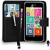 Nokia Lumia 530 Premium Leather Wallet noir flip écran Housse Pouch + Mini Stylus Pen + Big tactile Stylet + Protecteur & Chiffon PAR SHUKAN®, (Noir)