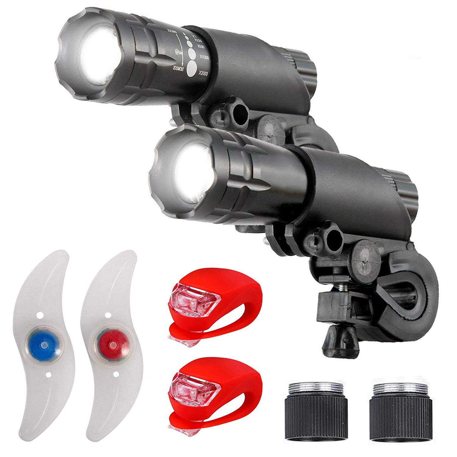 Ulako Bike Lights Double Set - The Ultimate Lighting and Safety Pack of Super Bright Front Bicycle Lights, Tail Lights and Wheel Lights
