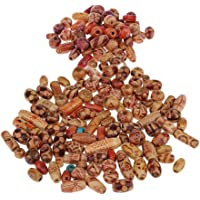 Dolity Wholesale 150 Pieces Wooden Boho Mixed Large Hole European Beads for Macrame Crafts Jewelry Making