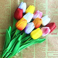 SHINE-CO LIGHTING PU Real Touch Tulips Artificial Flowers 10 Pcs Flowers Arrangement Bouquet for Home Office Wedding…