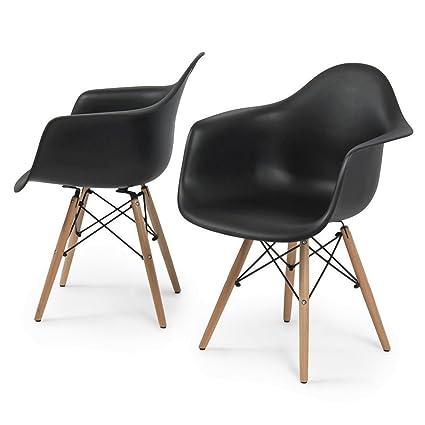 Amazon.com: Moderna silla de comedor patas de madera de ...