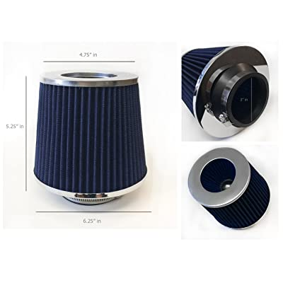 """3"""" Inlet (76mm) Cold Air Intake Short Ram Intake Chrome Open Top Air Filter Universal (Blue): Automotive"""