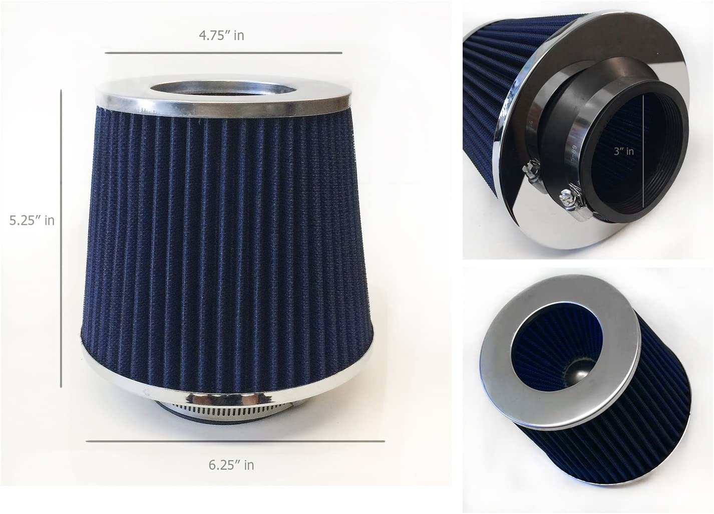 76mm 3 Inlet Cold Air Intake Short Ram Intake Chrome Open Top Air Filter Universal Blue