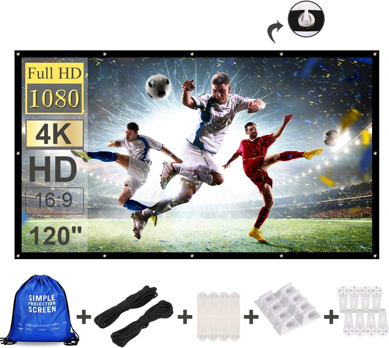 Projector Screen 120 Inch 16:9 HD Foldable Anti-Crease Portable Outdoor
