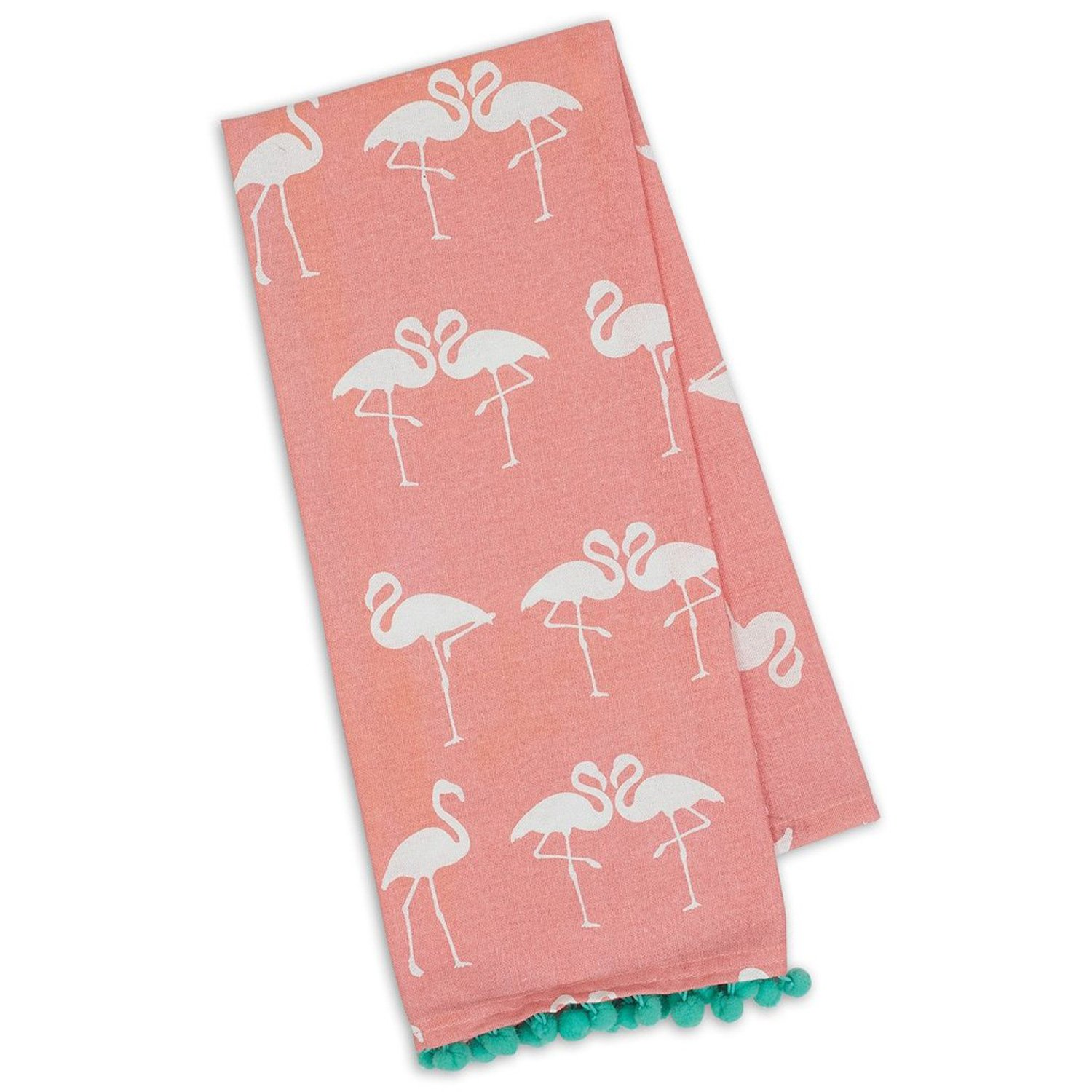 Design Imports Pineapple and Palms Table Linens, 18-Inch by 28-Inch Dishtowels, Set of 2, Flamingo Pom Pom Printed