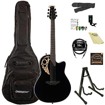 Ovation Elite TX Plus AA Sólido abeto superior guitarra electroacústica Kit con ChromaCast accesorios, negro madera de arce): Amazon.es: Instrumentos ...