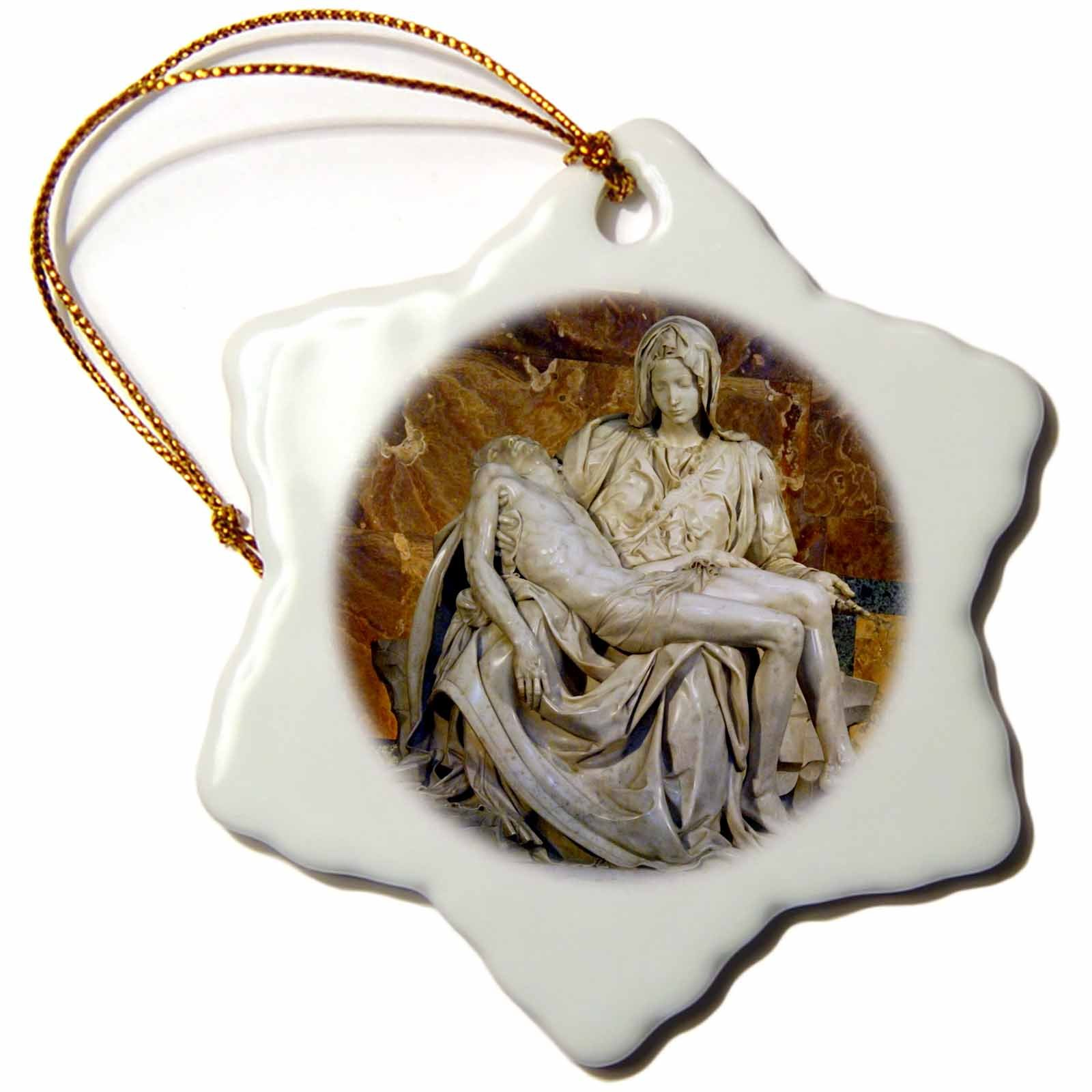 3dRose orn_82096_1 Italy Rome Vatican St. Peters Basilica Pieta Cindy Miller Hopkins Snowflake Decorative Hanging Ornament, Porcelain, 3-Inch by 3dRose