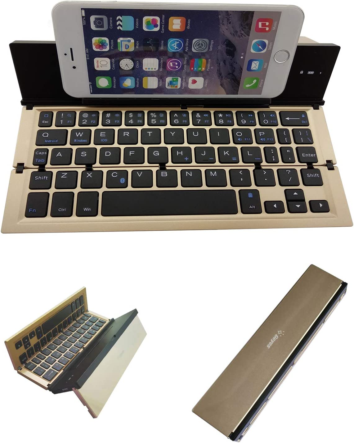 Foldable Bluetooth Keyboard with Portable Pocket Size Aluminum Alloy Housing Universal Foldable Wireless Bluetooth Keyboard for Tablet Phone for All iOS Android Windows Smartphone and More