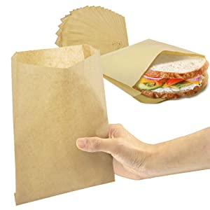 [200 Pack] 8.5 x 6 Inch Kraft Dry Wax Paper Sandwich Bags - Brown Unbleached Biodegradable Deli Wrap Sheet, Food Grade Grease Resistant Plastic Alternative Packaging for Cookies Breads Candy Snacks