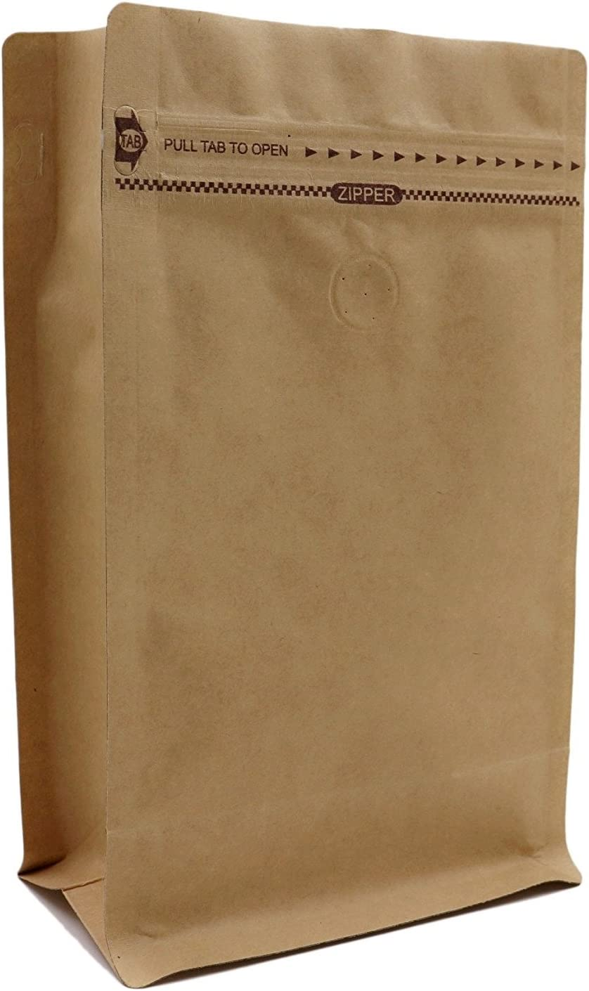 Kraft Paper Stand Up Coffee Bag/Flat Bottom Pouch with Air Release Valve and Reusable Side Zipper. (50pcs, 1lb/16oz)