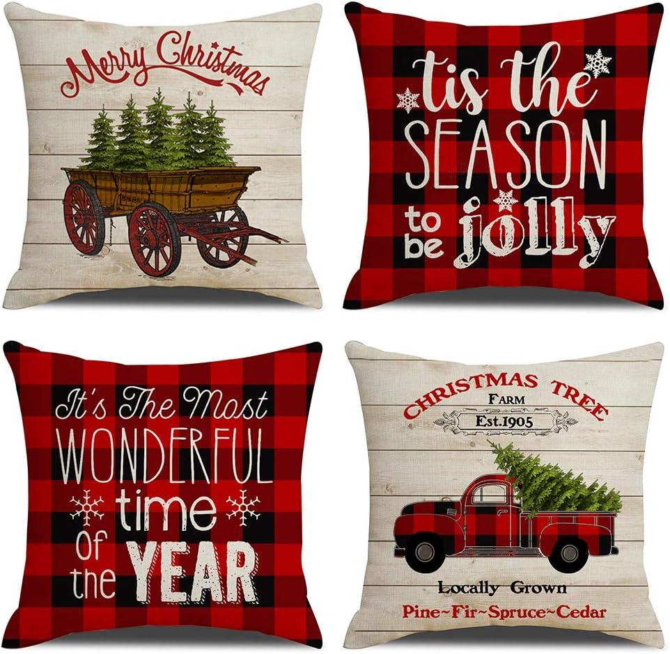 KACOPOL Christmas Red Buffalo Plaids Vintage Wood Farmhouse Truck Xmas Quotes Pillow Covers Cotton Linen Throw Pillow Case Cushion Cover 18