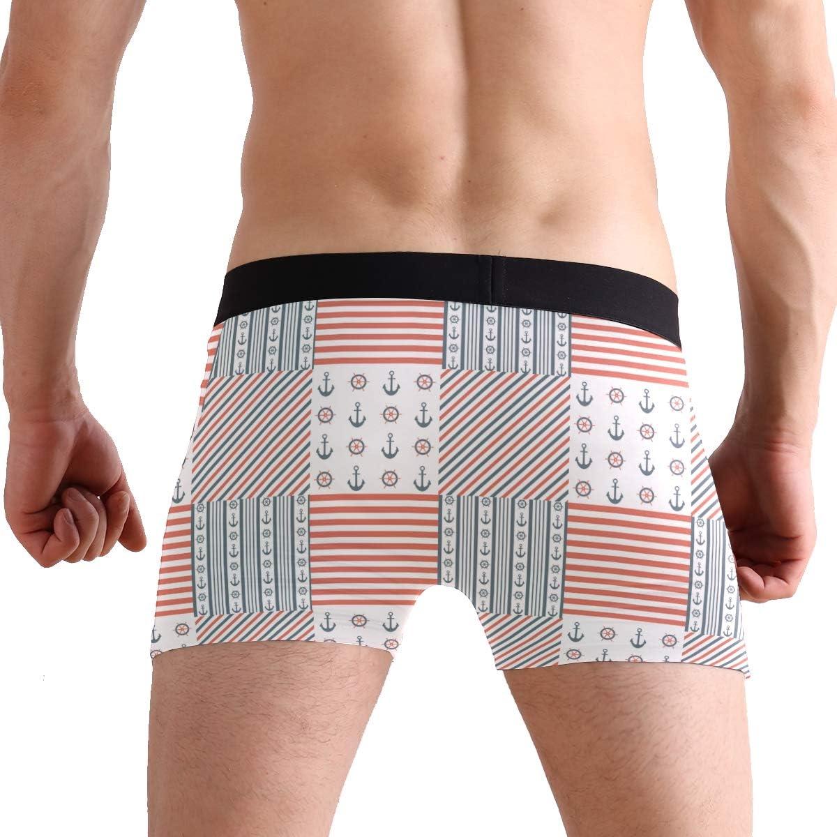 Anchor Print Stripe Mens Boxer Briefs Breathable Underwear Super Soft Cotton Full-Cut Briefs-2Pack