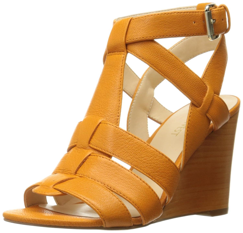 Nine West Women's Farfalla Leather Wedge Sandal B01BI26SKO 8 B(M) US|Orange