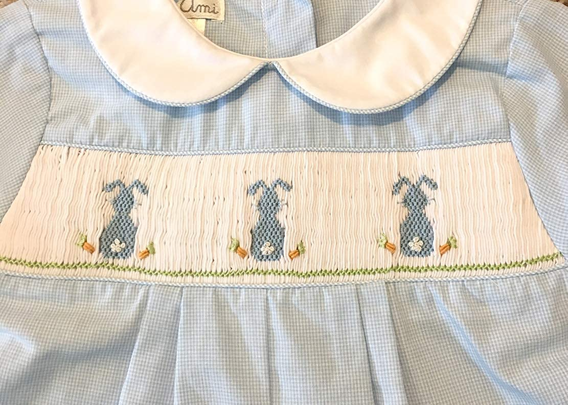 Petit Ami Easter Blue Check Smocked Bunnies Romper Infant Sizes