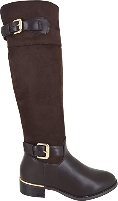 NEW LADIES FAUX SUEDE RIDING BUCKLE KNEE HIGH MID CALF WOMENS WINTER BOOTS SIZE