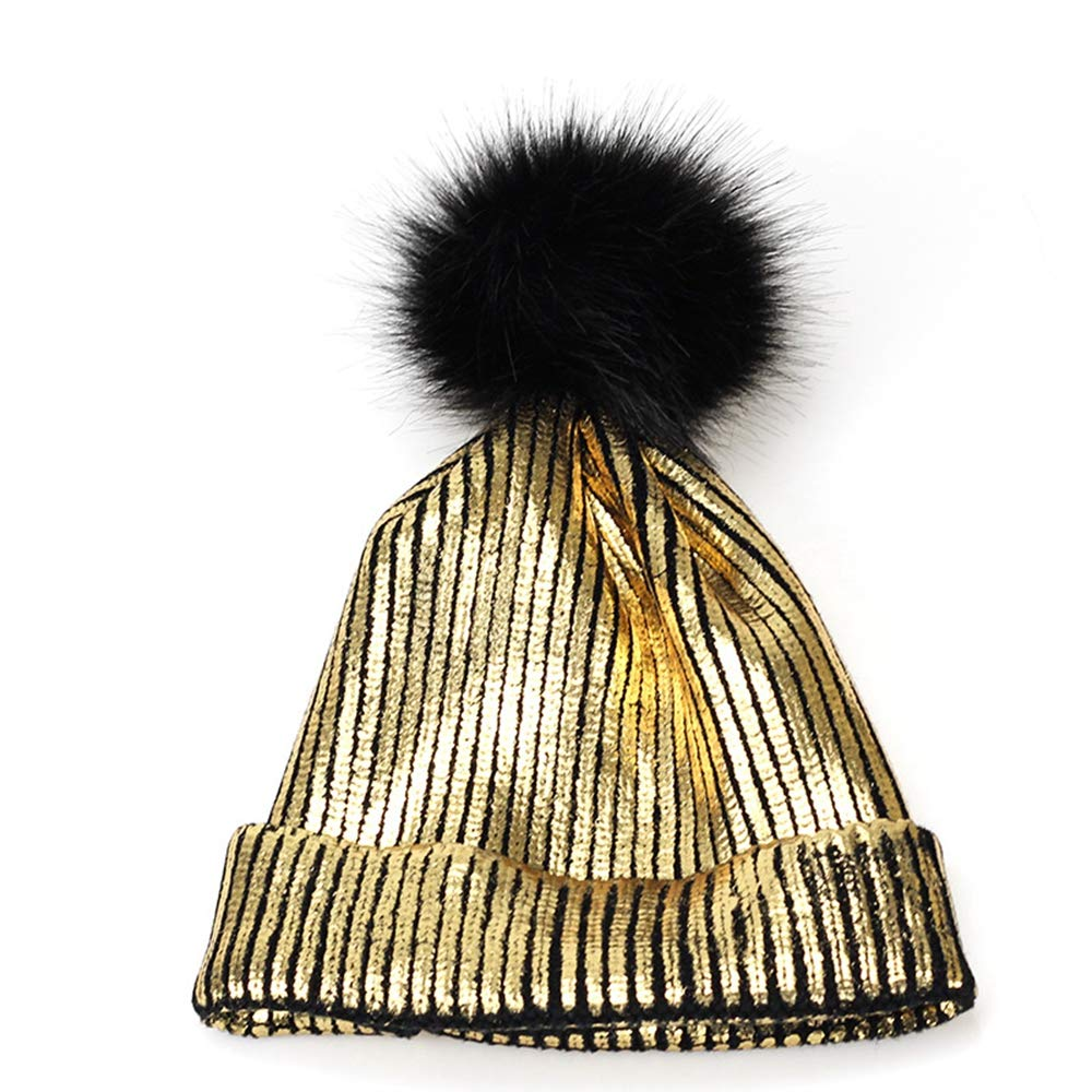 MJ-Young New Winter Womens Hat Winter Ins Gold Silver Purple Metallic Women Knitted Skull Beanies Hats