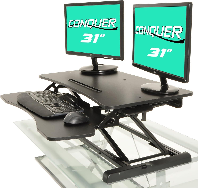 36Black Aludest Height Adjustable Standing Desk Sit to Stand Gas Spring Riser Converter 36 Tabletop Workstation fits Dual Monitor Home Office Computer Desk Black