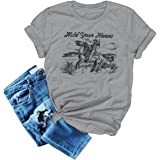 Hold Your Horses T-Shirts Women Vintage Tees Cowboy Funny Graphic Tops Western Retro Young Blouse