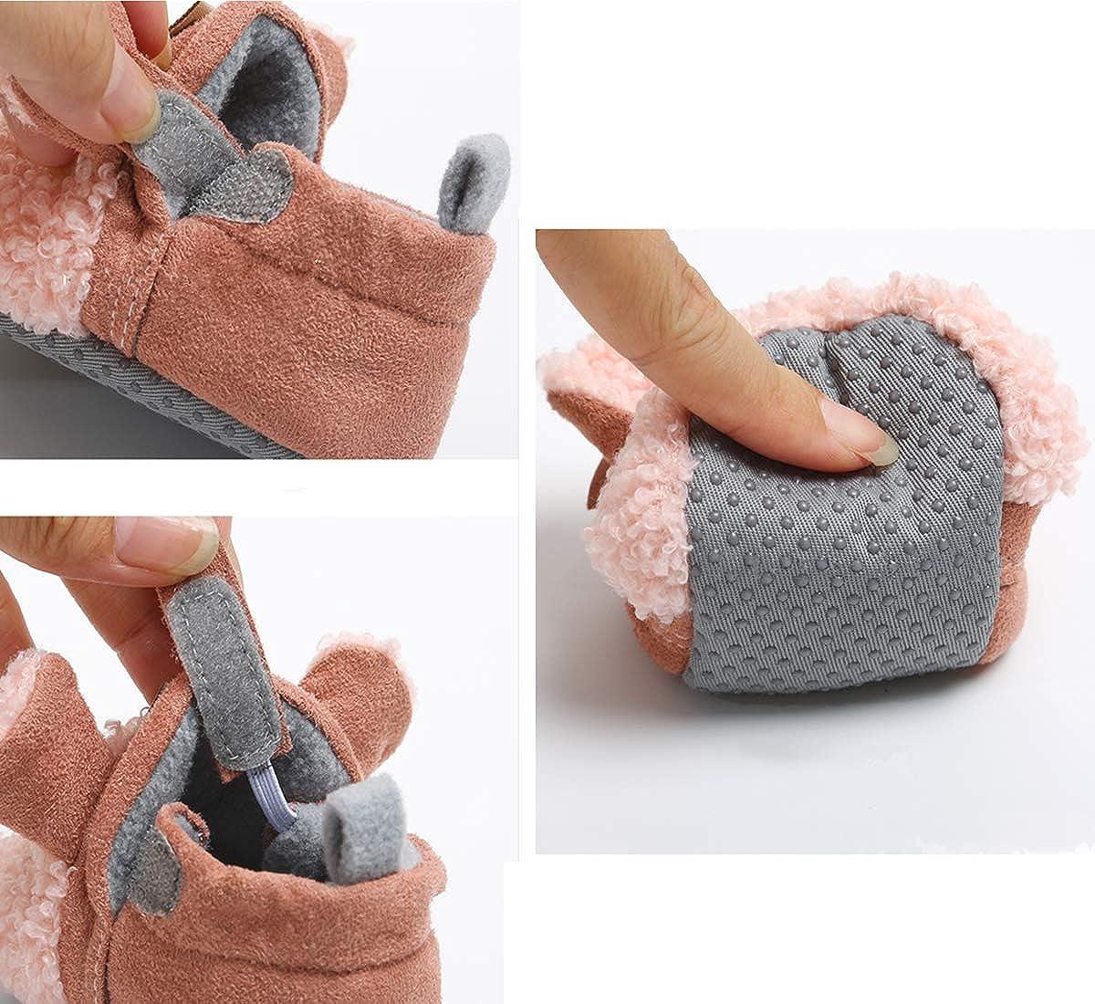 RVROVIC Baby Boys Girls Cozy Fleece Booties with Non Skid Bottom Warm Winter Socks