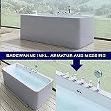 Luxus-Badewanne Vicenza601 in weiß, mit Armatur, BTH: 180x80x57 cm   Wandmontage