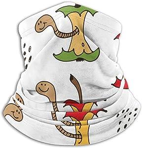 CHAN03 Cartoon Worms in Apple Core Multifunction Face Cover Sunscreen Magic Scarf Neck Guard Leggings Bandana
