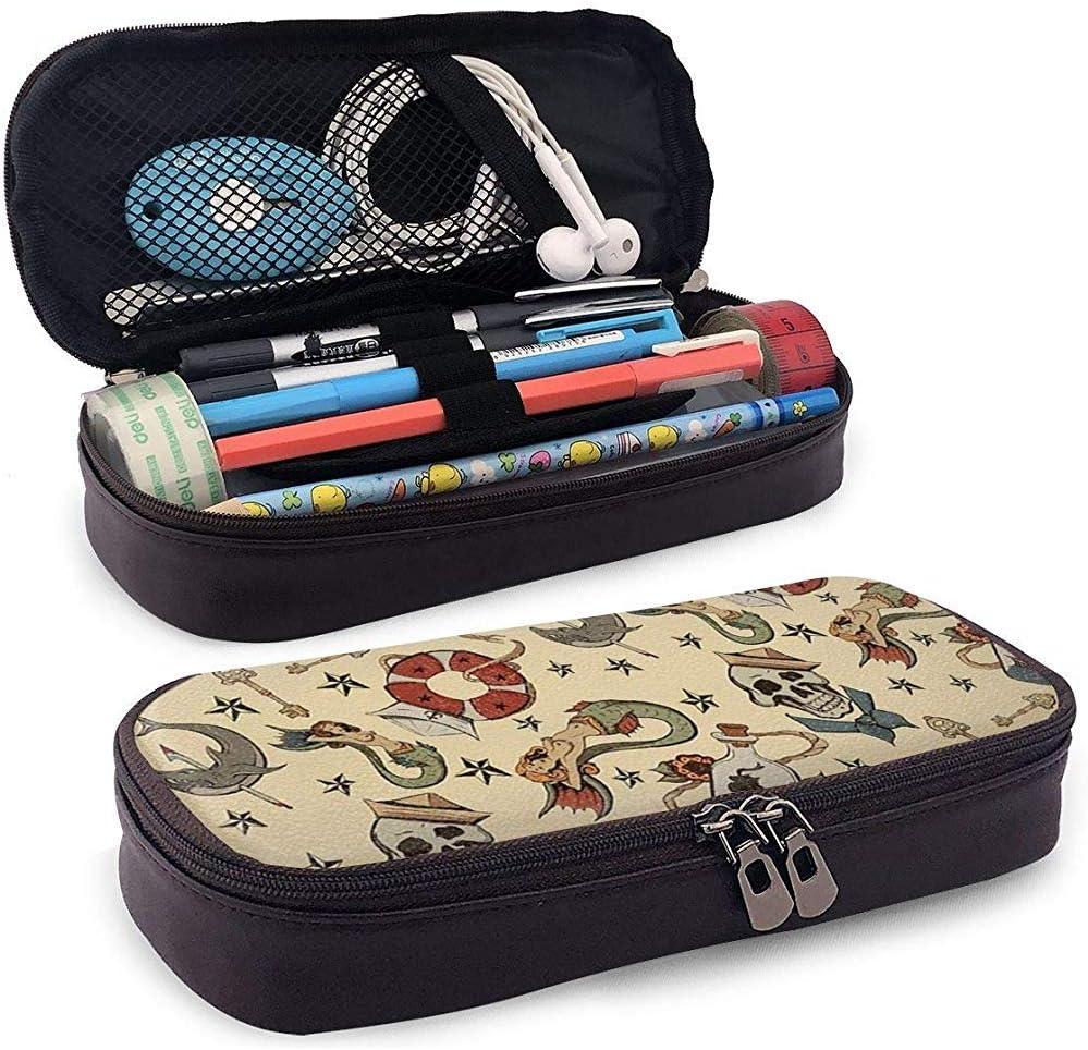 Bolso de cuero de la cremallera del bolso del lápiz del cuero de la PU, modelo de repetición del tatuaje del marinero de la marina de guerra