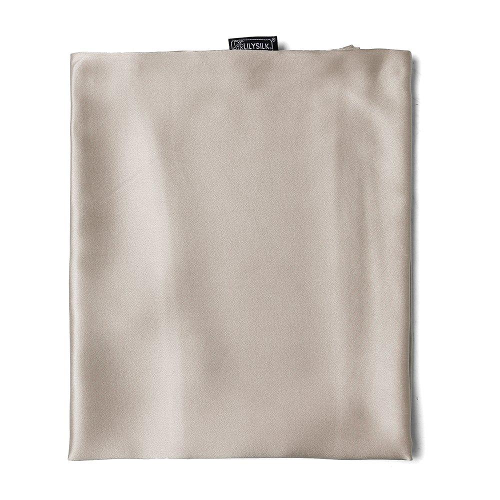 LILYSILK Seide Kopfkissenbezug Kissenbezug Kissenhülle Seidenkissenbezug mit Hotelverschluss 1 Stück aus 100% hochwertigster 25 Momme Maulbeerseide (Hell Kaffee, 80x80cm)