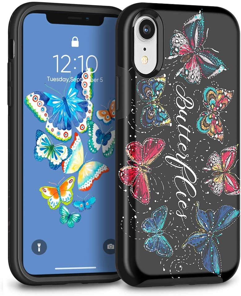 MAXCURY Case for iPhone XR, Slim [ Eternal Series ] Soft Silicone Rubber Bumper Black Back & Hard PC Slim Skin Protective Cover Box for Apple iPhone XR - Butterfly