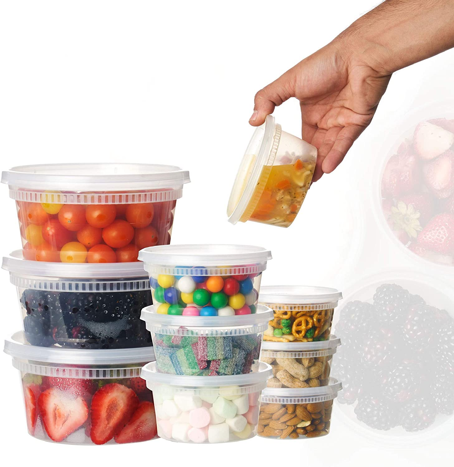 8oz-12sets Plastic Food Storage Containers with Lids, Microwavable Translucent Plastic Deli Container and Lid Combo Pack (8oz)