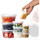 12oz-12sets Plastic Food Storage Containers with Lids, Microwavable Translucent Plastic Deli Container and Lid Combo…